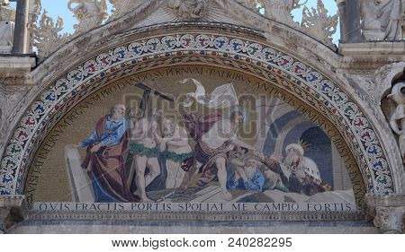VENICE, ITALY - MAY 28 : Descent into Limbo, mosaic from upper facade of the Basilica San Marco, St. Mark's Square, Venice, Italy, UNESCO World Heritage Sites on May 28, 2017.