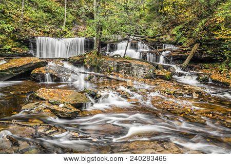 Delaware Falls Is A Beautiful Waterfall Found In Ganoga Glen At Ricketts Glen State Park, Pennsylvan