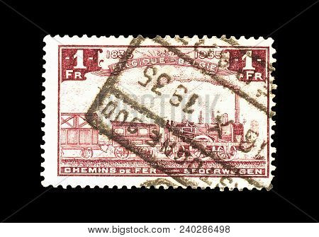 Belgium - Circa 1935 : Cancelled Postage Stamp Printed By Belgium, That Shows Old Train.