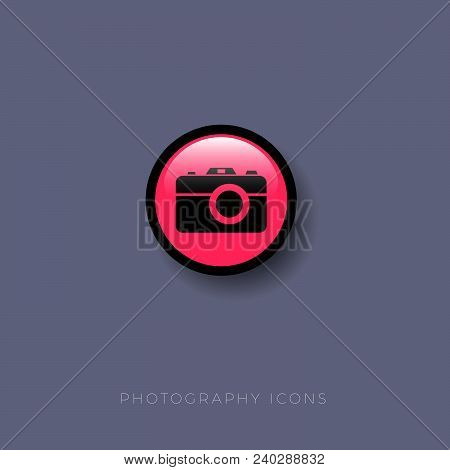 Photography Icon. Camera, Photo, Photography Button On A Round Glossy Badge With Shadow.