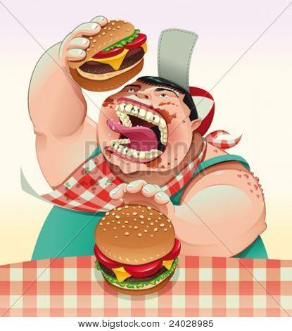 Boy with hamburgers. Cartoon and vector illustration.