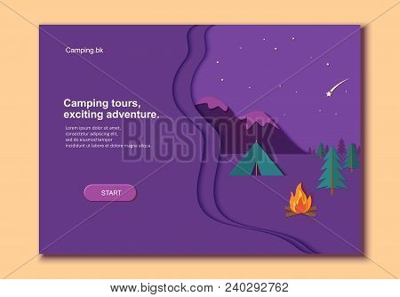 Evening Camp Whith Bonfire And Tent Pine Forest And Rocky Mountains In Trandy Paper Cut Style.. Camp