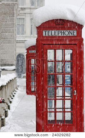 Red telephones near Big Ben