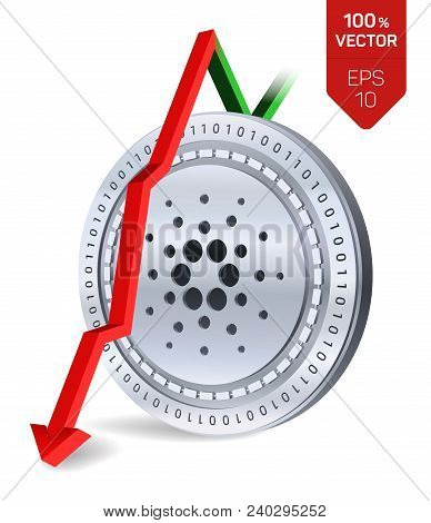 Cardano. Fall. Red Arrow Down. Cardano Index Rating Go Down On Exchange Market. Crypto Currency. 3d