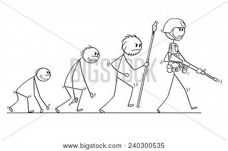 Cartoon Stick Man Drawing Conceptual Illustration Of Modern Human Soldier Or Warrior Evolution Proce