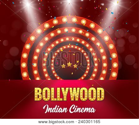 Bollywood Indian Cinema Film Banner. Indian Cinema Logo Sign Design Glowing Element With Stage.