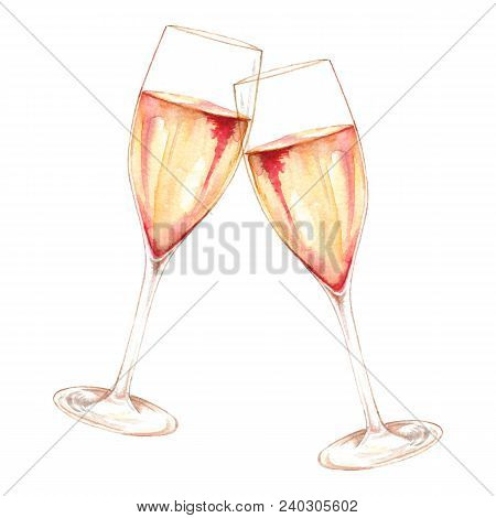 Watercolor Two Glasses Of Champagne Wine Alcohol Isolated