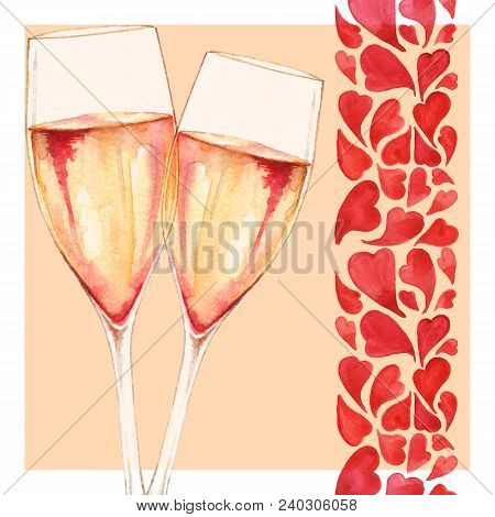 Watercolor Two Glasses Of Champagne Wine Alcohol Heart Love Romantic Frame Border Greeting Card Isol