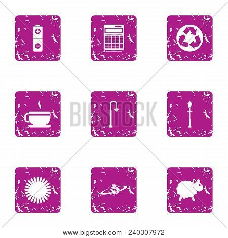 Purification Of The Atmosphere Icons Set. Grunge Set Of 9 Purification Of The Atmosphere Vector Icon