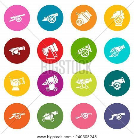Cannon Retro Icons Set Vector Colorful Circles Isolated On White Background