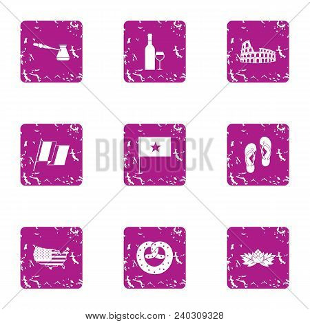 Opposition Icons Set. Grunge Set Of 9 Opposition Vector Icons For Web Isolated On White Background