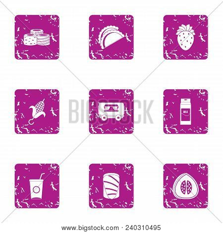 Foodstuffs Icons Set. Grunge Set Of 9 Foodstuffs Vector Icons For Web Isolated On White Background