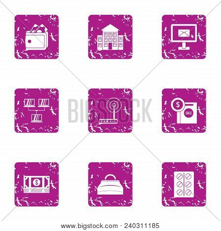 Business Purchase Icons Set. Grunge Set Of 9 Business Purchase Vector Icons For Web Isolated On Whit