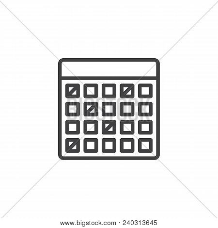 Calendar Outline Icon. Linear Style Sign For Mobile Concept And Web Design. Vacations Organizer Simp