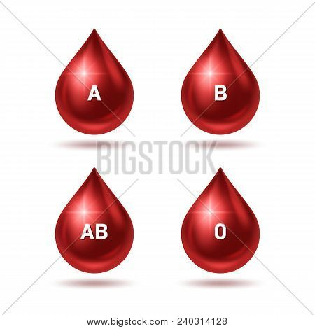 World Blood Donor Day Poster. Realistic Blood Drops. Vector Illustration