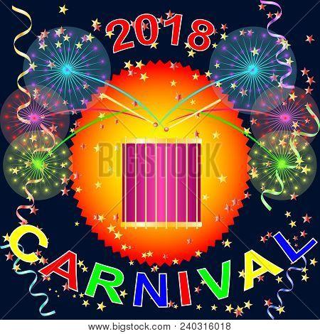 Carnival, Holiday, Festival Banner. Salute, Drum, Drum, Drumsticks, Salute, Ribbon, Confetti, Stars