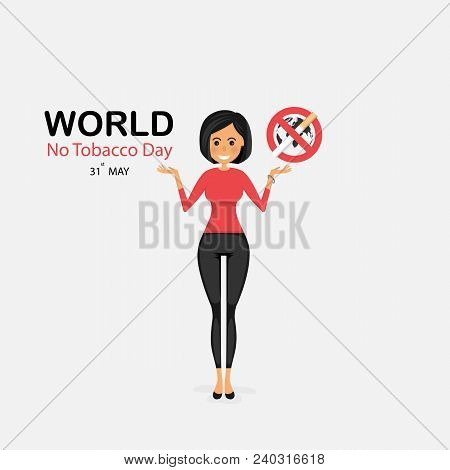 Pretty Woman And Quit Tobacco Vector Logo Design Template.may 31st World No Tobacco Day Concept.stop
