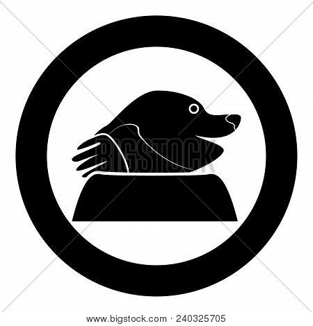 Mole Icon In Round Black Color Vector Illustration Flat Style For Garden Craft