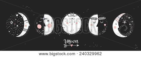 Moon Phases, Characters Image On Black Background. Hand Drawn Vector Illustration Of Cycle From New
