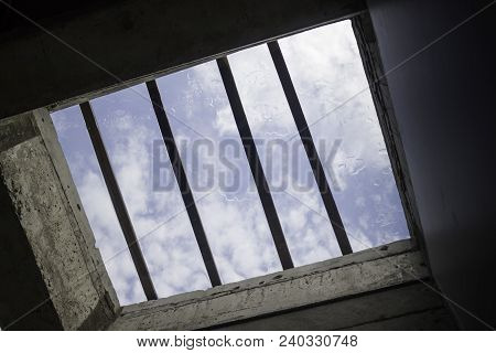 Vintage Glass Architecture Roof Of Blue Sky, Stock Photo