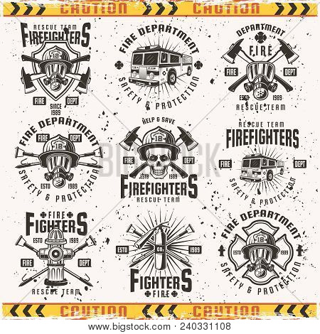 Fire Department Set Of Vector Emblems, Labels, Badges And Logos In Vintage Style Isolated On Backgro
