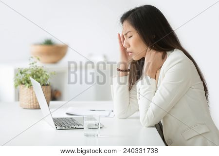 Stressed Asian Businesswoman Having Headache At Work Concept, Frustrated Dizzy Chinese Woman Touchin