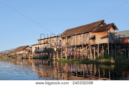 Village Of Intha People Over Water On Inle Lake, Shan State Of Myanmar