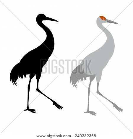 Crane Bird Vector Illustration Flat Style  Black Silhouette Profile Side