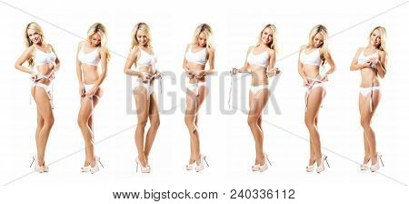 Fit And Sporty Girl In White Underwear. Beautiful And Healthy Woman Measuring Her Body Isolated On W