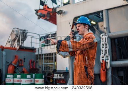 Marine Deck Officer Or Chief Mate On Deck Of Offshore Vessel Or Ship , Wearing Ppe Personal Protecti