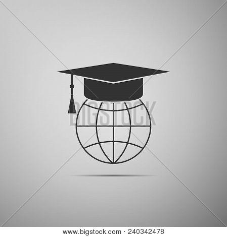 Graduation Cap On Globe Icon Isolated On Grey Background. World Education Symbol. Online Learning Or