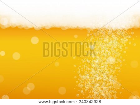 Beer Bubbles Background With Realistic White Foam.  Cool Liquid Drink For Pub And Bar Menu Design, B