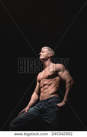 Muscular And Sexy Torso Of Young Man Having Perfect Abs, Bicep And Chest. Male Hunk With Athletic Bo