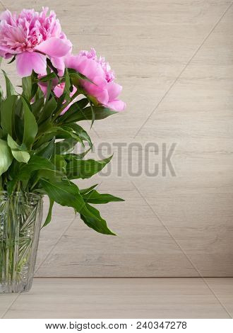 Beautiful Pink Peonies In A Crystal Vase To Mother's Day
