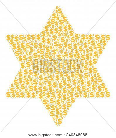 Six Pointed Star Mosaic Of Dollars And Round Dots. Vector Dollar Pictograms Are Arranged Into Six Po