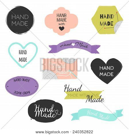 Set Of Hand Drawn Shapes In Different Colour With Lettering