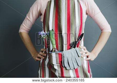 Woman Stands In Striped Apron With Hyacinth Plant In Plastic Flower Pot And Small Metal Shovel On Gr