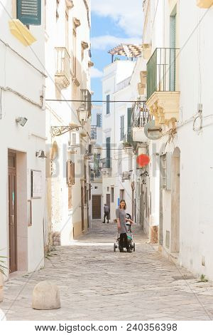 Gallipoli, Apulia, Italy - Lovely View Into A Traditional Lane Of Gallipoli