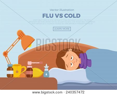 Sick Girl In Bed With The Symptoms Of  Cold, Flu. Cartoon Vector Character On Pillow With Blanket An