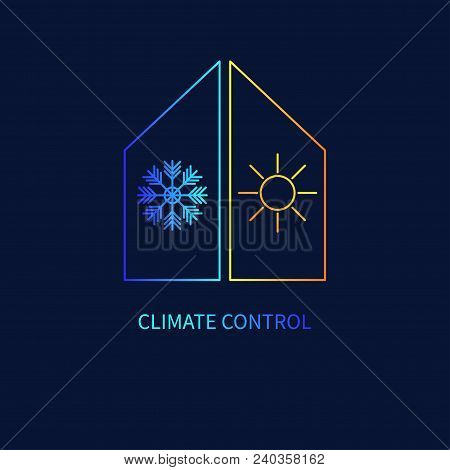 Climate Control Linear Icon, Gradient House With Snowflake And Sun. - Vector Stock