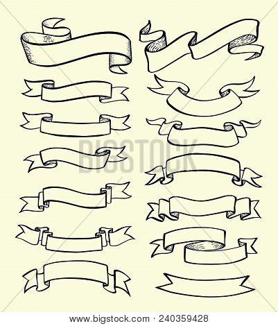Ribbon Banner Drawn Set. Vector Illustration For Element Advertising.