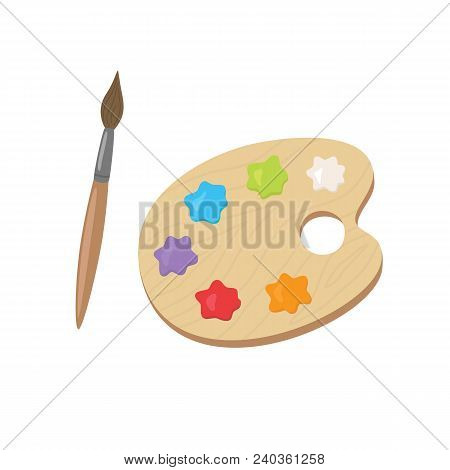 Palette With Acrylic Paints And Brush. Flat Vector Illustration Isolated On White Background