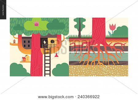 Simple Things - Color - Flat Cartoon Vector Illustration Of Houses, Tree House, Tree Roots Growing I