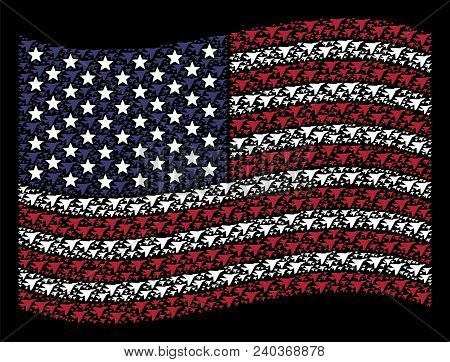 Airplane Intercepter Symbols Are Combined Into Waving Usa Flag Stylization On A Dark Background. Vec
