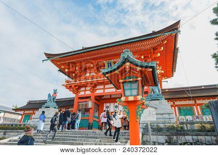 Kyoto, Japan - November 25, 2016 Fushimi Inari Temple At Kyoto, Japan. Attracting A Large Number Of
