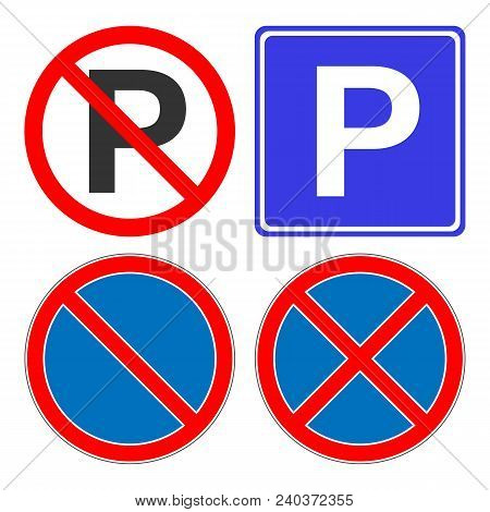 No Parking, No Stopping, No Waiting, No Standing Sign. Parking Area Sign. Vector Icon.
