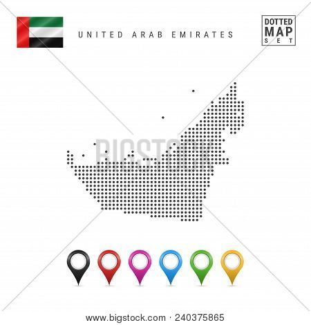 Dotted Map Of United Arab Emirates. Simple Silhouette Of United Arab Emirates. National Flag Of Unit