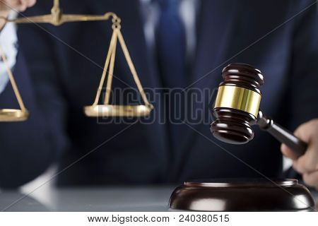 Law Concept. Judge, Gavel, Balance, Documents. White Background. Man In Suit.