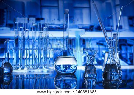 Laboratory Interior. Laboratory Equipment - Glass Beakers. Science Concept.