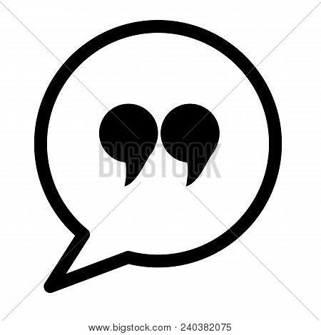 Quote Icon On White Background. Quotation Mark Black Symbol. Flat Style.
